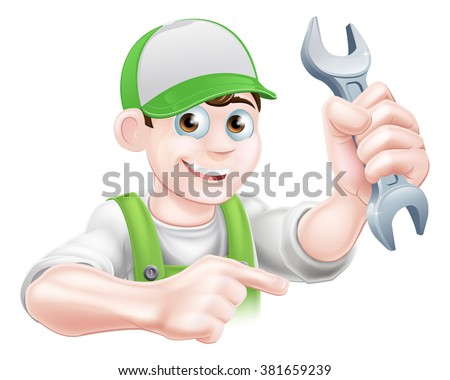 A cartoon plumber or mechanic man holding a spanner and pointing - stock vector