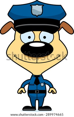 A cartoon police officer puppy smiling. - stock vector