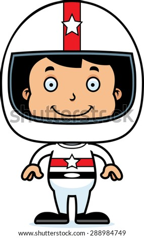 A cartoon race car driver boy smiling. - stock vector