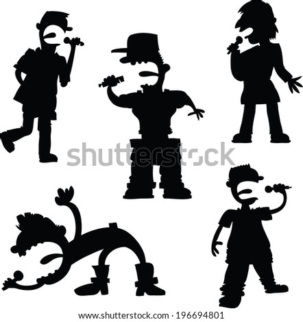 A cartoon set of male pop singers and rap artists.  - stock vector