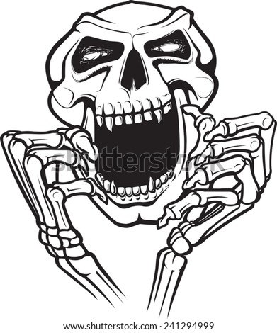 A cartoon skull and hands. Layered vector file available. Laughing Skull. - stock vector