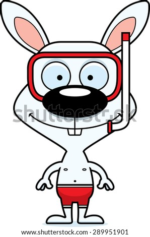 A cartoon snorkeler bunny smiling. - stock vector
