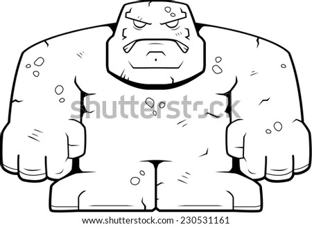A cartoon stone golem with an angry expression. - stock vector