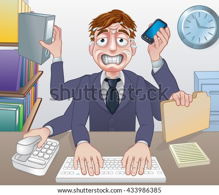 A cartoon stressed overworked sweating multitasking business man - stock vector