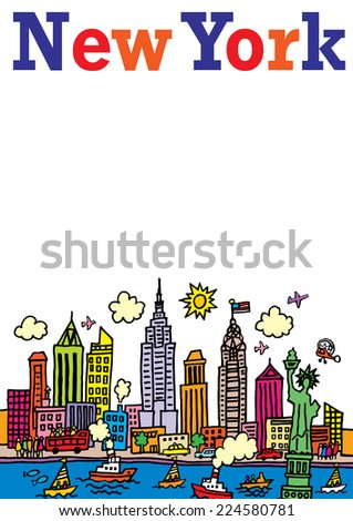 A cartoon style, vector illustration of New York, City. - stock vector
