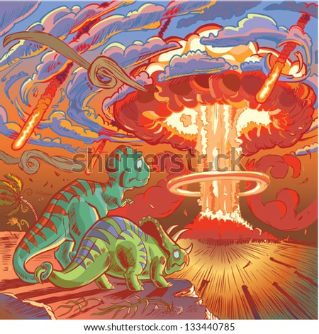 A Cartoon Tyrannosaurus and Triceratops, once mortal enemies, clasp their tails in a last-minute display of friendship and reconciliation as they realize their impending doom. - stock vector