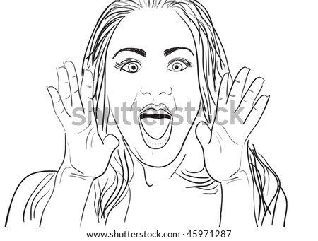 A cartoon vector drawing of a surprised or amazed woman. - stock vector