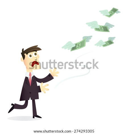 A cartoon vector illustration of a business man in suit losing/chasing money.