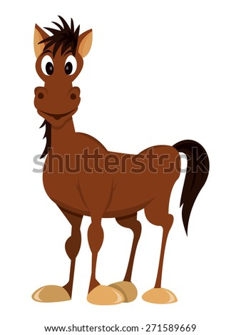 A cartoon vector illustration of a happy brown horse in standing pose.