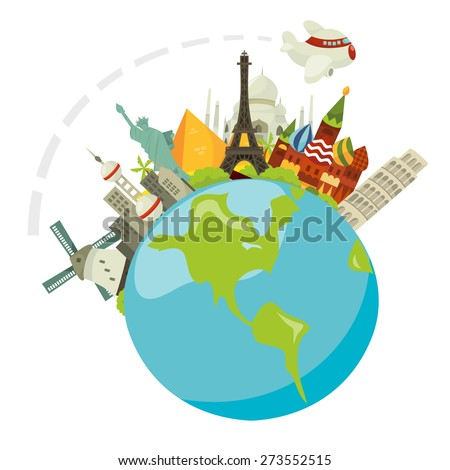 A cartoon vector illustration of a travel concept called globetrotting: a plane travel through all famous international cities.  - stock vector