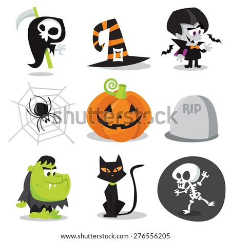 A cartoon vector illustration of halloween characters and objects. - stock vector
