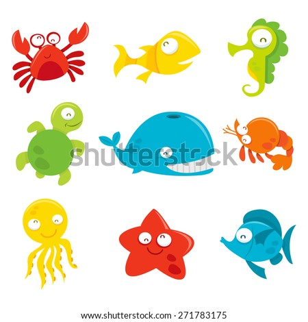 A cartoon vector illustration of nine different set of happy and silly sea animals like crab, fishes, whale, turtle, starfish, octopus and seahorse.