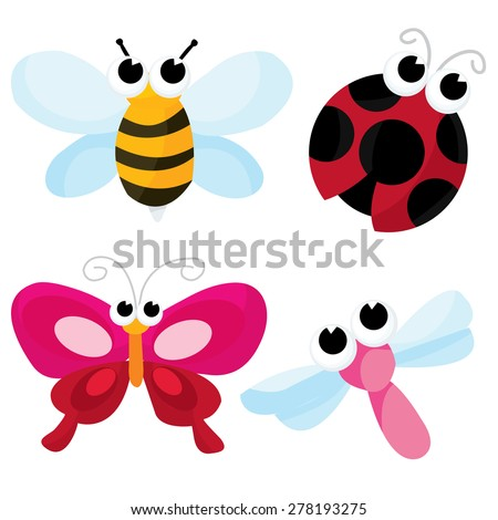 A cartoon vector illustration of pretty cute little bugs like honey bee, dragonfly, butterfly and ladybug. - stock vector