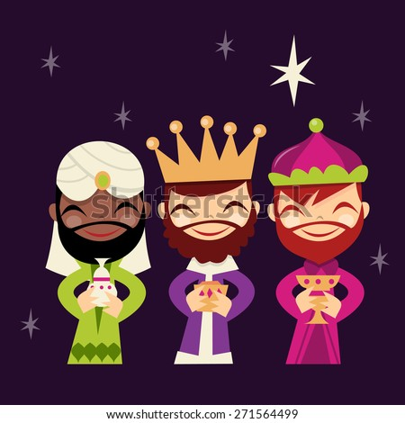 A cartoon vector illustration of retro cute three kings. - stock vector