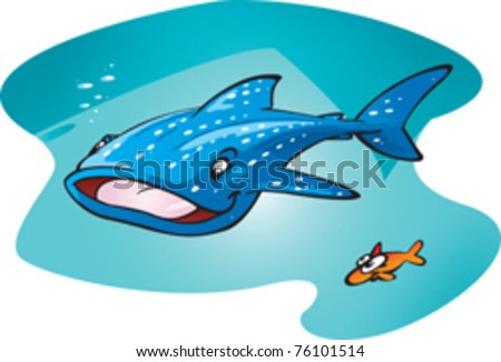 A cartoon vector illustration of the biggest fish in the ocean. A happy whale shark cruising the big blue with his little mate.