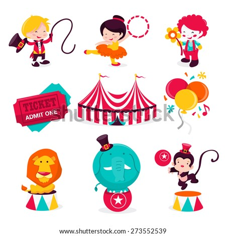 A cartoon vector illustration of various cute carnival circus theme icons or design elements. This set includes ringmaster, acrobat artist, clown, ticket, circus tent, balloons and circus animals.  - stock vector