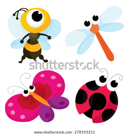 A cartoon vector illustration set of little cute bugs namely a bee, a dragonfly, a butterfly and a ladybug - stock vector