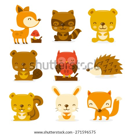 A cartoon vector illustration set of super cute woodland creatures and critters. Included in this set:- deer, raccoon, bear, beaver, owl, porcupine, squirrel, rabbit and fox. - stock vector