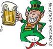 A cartoon vector Leprechaun with a beer. - stock vector