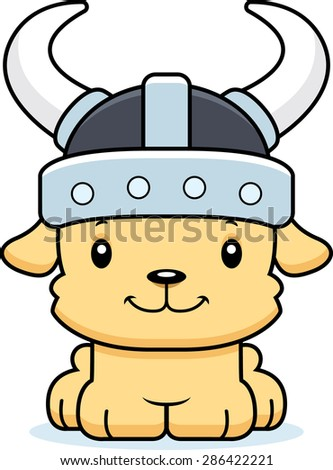 A cartoon Viking puppy smiling.