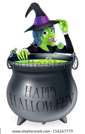 A cartoon witch looking over her bubbling cauldron with a Happy Halloween written on it and tipping her hat  - stock vector