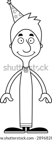 A cartoon wizard man smiling. - stock vector