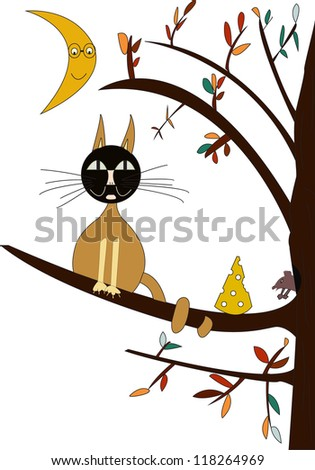 A cat and a small mouse sitting on the branch of a tree - stock vector