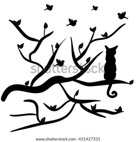 a cat in a tree, a bird on a branch and leaves, vector