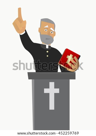 A Catholic priest gave a sermon in a church in worship. Vector illustration on white background isolated. - stock vector
