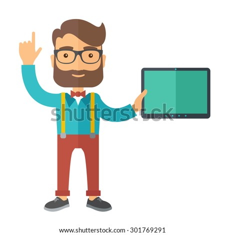 A caucasian businessman holding tablet and smiling. A Contemporary style. Vector flat design illustration isolated white background. Square layout - stock vector