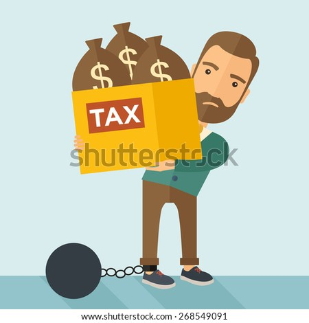 A Caucasian businessman locked in a debt ball in chain for commiting crime in tax ivasion. Debt concept. A Contemporary style with pastel palette, soft blue tinted background. Vector flat design - stock vector
