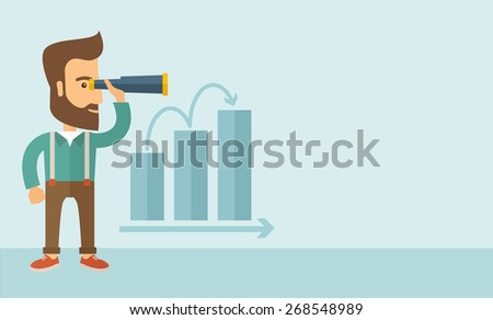 A Caucasian businessman standing using binocular to look over the graph that shows increasing in slaes. Growing business concept.  A contemporary style with pastel palette, soft blue tinted background - stock vector