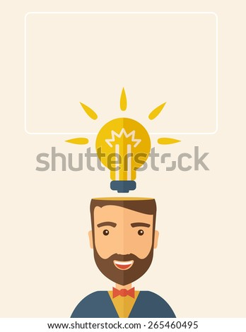 A Caucasian businessman with beard has a bright idea for marketing strategy with a bulb on his head. Human intelligence concept. A contemporary style with pastel palette, beige tinted background - stock vector