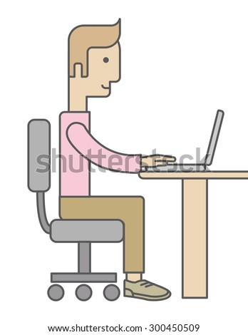 A caucasian Businessman Working on Computer facing side view. A Contemporary style. Vector flat design illustration isolated white background. Vertical layout - stock vector