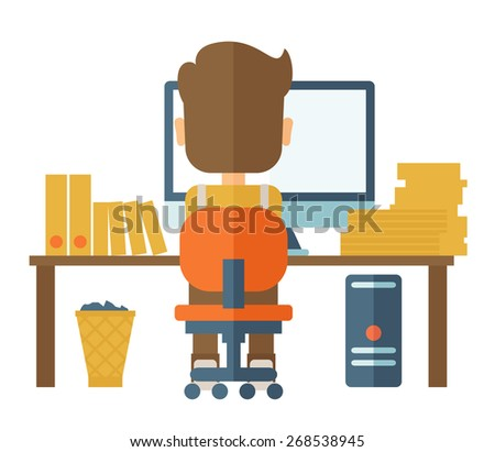 A Caucasian hardworking man facing his computer doing his paper works and seraching an idea from his computer for his report. A contemporary style. Vector flat design illustration with isolated white - stock vector