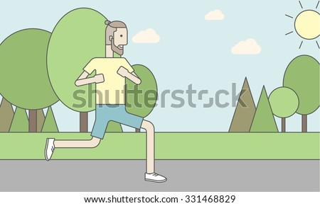 A caucasian hipster man with beard jogging in the park. Vector line design illustration. Horizontal layout with a text space for a social media post. - stock vector