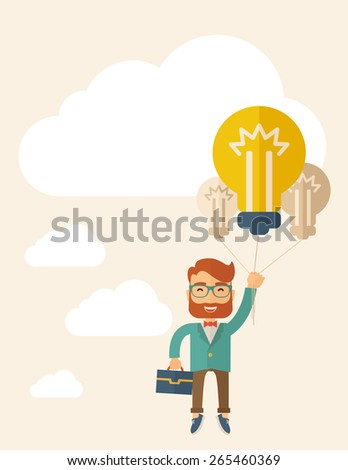 A Caucasian hipster with beard carrying a briefcase with bulb as balloon to take him fly high. Happy and success concept. A contemporary style with pastel palette, beige tinted background - stock vector