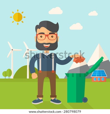 A caucasian man throwing a crumpled paper in a green garbage bin. A Contemporary style with pastel palette, soft blue tinted background with desaturated clouds. Vector flat design illustration. Square - stock vector