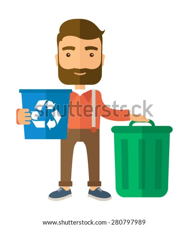 A Caucasian standing outside the house sorting a trash and will throw to the barbage bin. Eco-friendly. A Contemporary style. Vector flat design illustration isolated white background. Vertical layout - stock vector