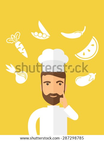 A caucasian worker trying to cook for dinner in his kitchen while looking at the cook book as his guide. Learning concept. A Contemporary style with pastel palette, Yellow tinted background. Vector - stock vector