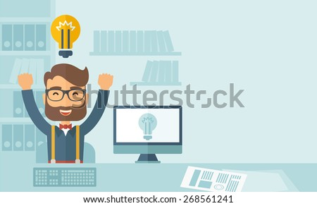 A Caucasian young man is happy raising his two hands getting an idea through computer internet inside his office. Successful concept.A contemporary style with pastel palette, soft blue tinted - stock vector