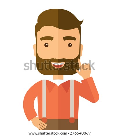 A Caucasian young successful man happy raising his one arm showing that he is number one. Vector flat design illustration with isolated white background. Square - stock vector