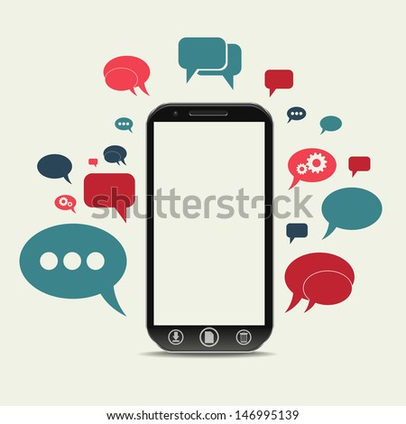 a cellphone chat concept - stock vector