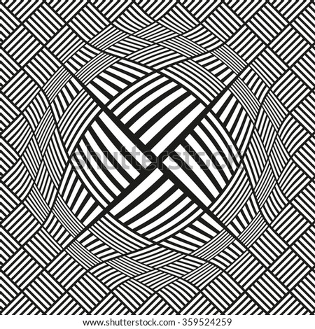 A centered spherical distortion on a square pattern surface, in black and white