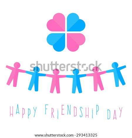 A chain of colored paper men fighting over hands and heart in a circle. day of friendship. vector illustration - stock vector