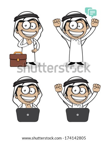 A character for an Arabic Saudi Arabian business man wearing the Arabic white outfit and black shoes thinking, happy, excited, confidence with a laptop and suitcase