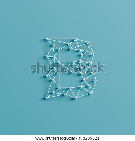 A character made by pins and lines forming net, 3D and realistic, vector