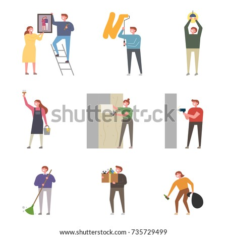 A character that expresses various situations of the couple's interior after moving the house. vector illustration flat design