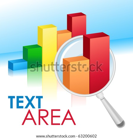 A chart bar graph on a blue white background with a reflection. A magnifying glass has two figures closeup for analysis. Use it for a banking, money or finance concept. - stock vector