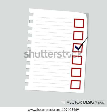 A checklist with black marker and red checked boxes. Concept vector illustration - stock vector
